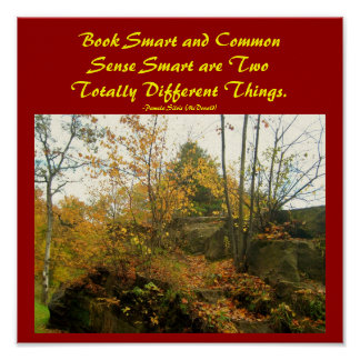 Book Smart and Common Sense...Poster Poster