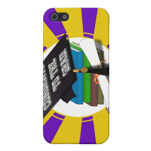 Book Stack 'CONGRATS TO THE GRAD' Gold & Purple iPhone 5/5S Covers