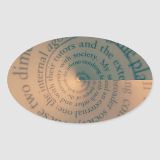 Book text swirl oval sticker