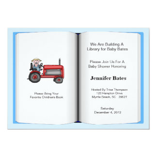 "Book Theme Baby Shower Invitation (Boy) 5"" X 7"" Invitation Card"