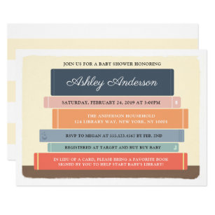 Book themed baby shower invitations zazzle book theme library baby shower invitation filmwisefo