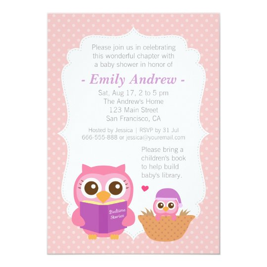 Vintage Owl Baby Shower Invitations: Book Themed, Girl Cute Owl Baby Shower Invitations