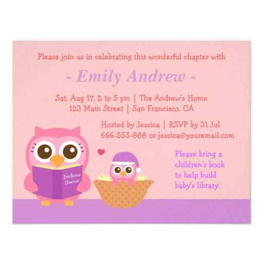 Book Themed, Owl Baby Girl Shower Invitations