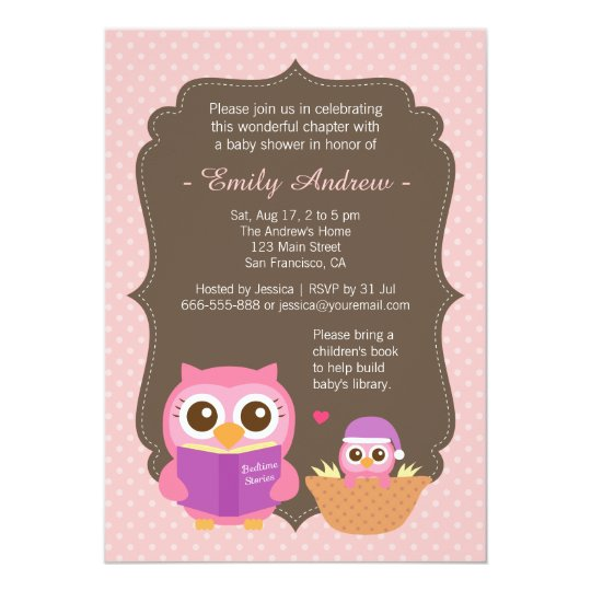 Vintage Owl Baby Shower Invitations: Book Themed, Pink Cute Owl Baby Shower Invitations