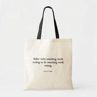 Book Tote Bag - Benjamin Franklin Quote