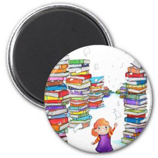 Book Tower 2 Inch Round Magnet