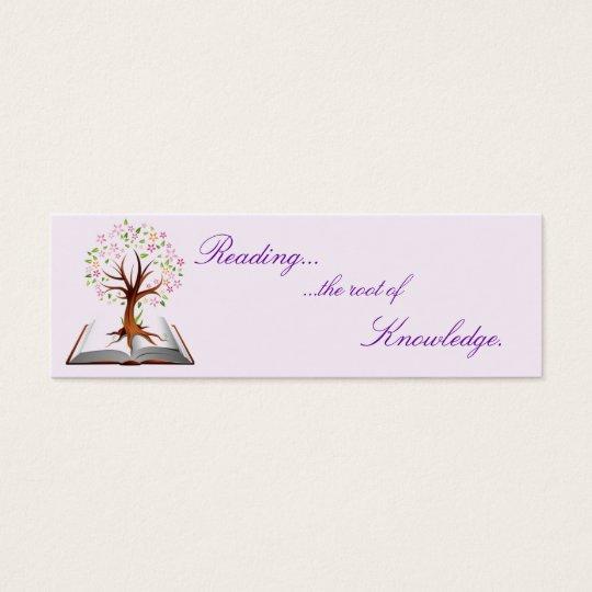 book tree knowledge bookmark mini business card