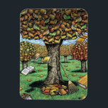 "Book Tree magnet<br><div class=""desc"">illustration of an autumn tree covered with books</div>"