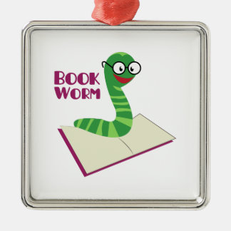 Book Worm 2 Square Metal Christmas Ornament