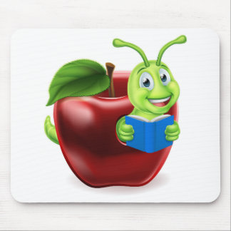 Book Worm Apple Cartoon Mouse Pad