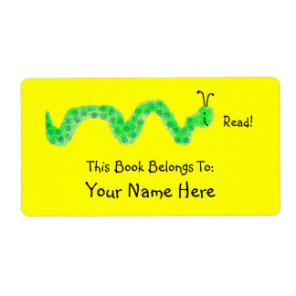 Book Worm, Bookplate Shipping Label