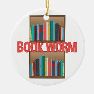 Book Worm Ceramic Ornament