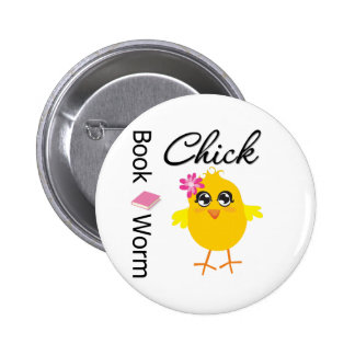Book Worm Chick Pinback Button