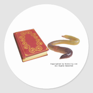Book Worm Classic Round Sticker