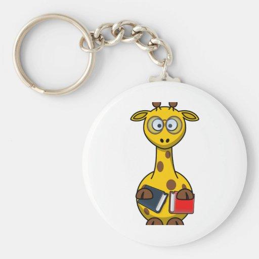 Book Worm Giraffe Cartoon Keychain
