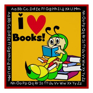 Book Worm I Love Books Poster