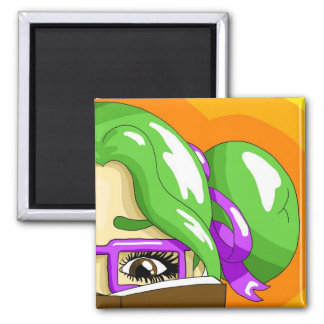 Book worm 2 inch square magnet