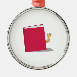 Book Worm Round Metal Christmas Ornament