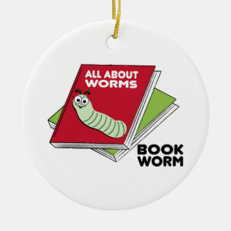 Book Worm Double-Sided Ceramic Round Christmas Ornament