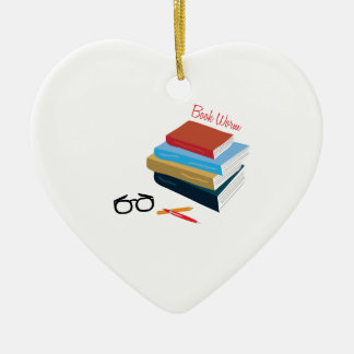 Book Worm Double-Sided Heart Ceramic Christmas Ornament