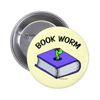 Book Worm Pinback Button