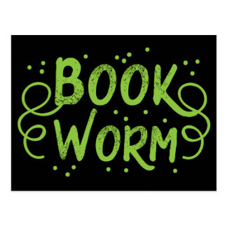 book worm postcard