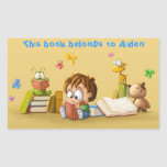 Book Worm Rectangular Sticker at Zazzle