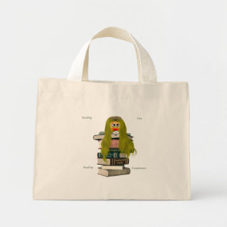 Book Worm Smiley Mini Tote Bag