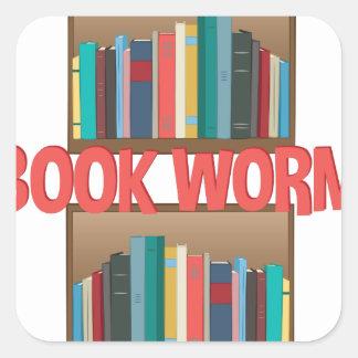 Book Worm Square Sticker