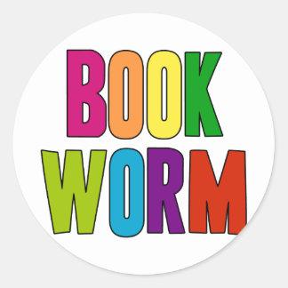 Book Worm Classic Round Sticker