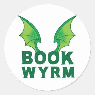 BOOK WYRM CLASSIC ROUND STICKER