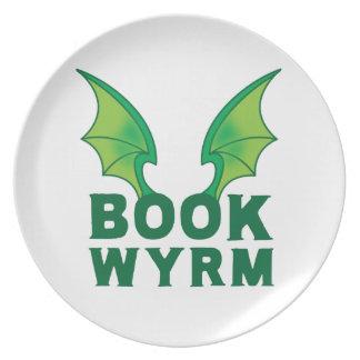 BOOK WYRM MELAMINE PLATE