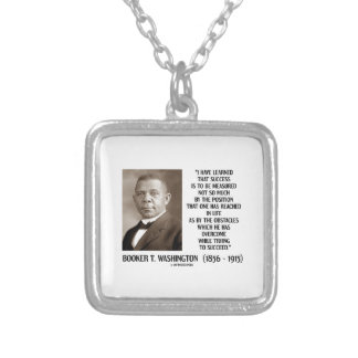Booker T. Washington Obstacles Overcome Succeed Square Pendant Necklace
