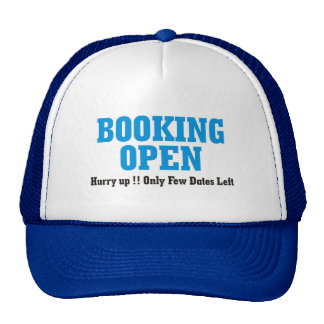 booking open trucker hat