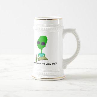 Bookish Alien at the Bar Beer Mug