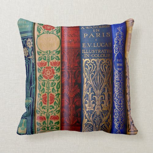 Bookish Book Spines Throw Pillow