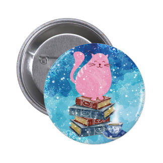 Bookish Cat in Winter Pinback Button