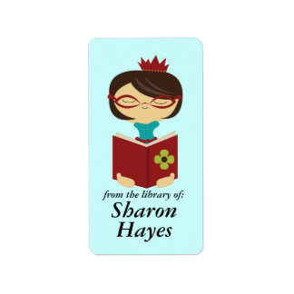 Bookish Library Reading Lady Bookplate Gift