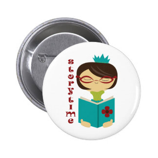 Bookish Storytime Reading Lady Librarian Gift Button
