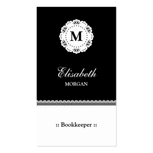 Bookkeeper Black White Lace Monogram Business Card Templates