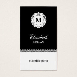 Bookkeeper Black White Lace Monogram Business Card
