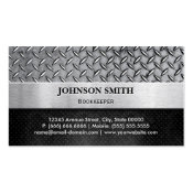 Bookkeeper - Diamond Metal Plate Double-Sided Standard Business Cards (Pack Of 100)
