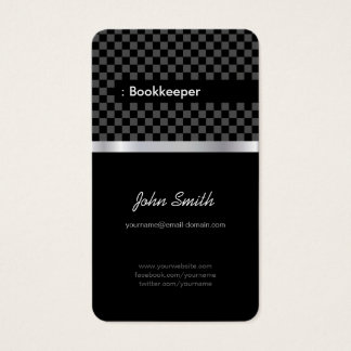 Bookkeeper - Elegant Black Chessboard Business Card