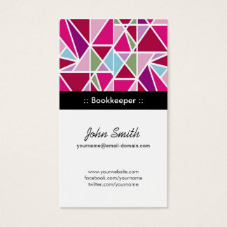 Bookkeeper Pink Abstract Geometry Business Card