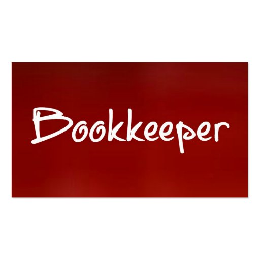 Bookkeeper Red Business Card