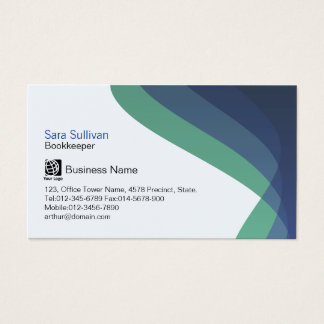Bookkeeper Right Blue Hued Streams Professional Business Card