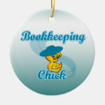 Bookkeeping Chick #3 Double-Sided Ceramic Round Christmas Ornament