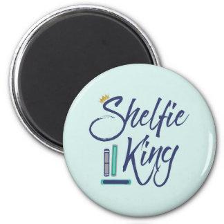 Booklover Shelfie King 2 Inch Round Magnet