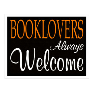 Booklovers always welcome sign postcard