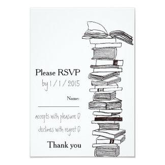 """Booklovers que casan la tarjeta de RSVP de la Invitación 3.5"""" X 5"""""""